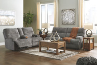 Ashley Coombs Charcoal 2 Seat Reclining Power Sofa/Couch & Double Reclining Power Loveseat with Console