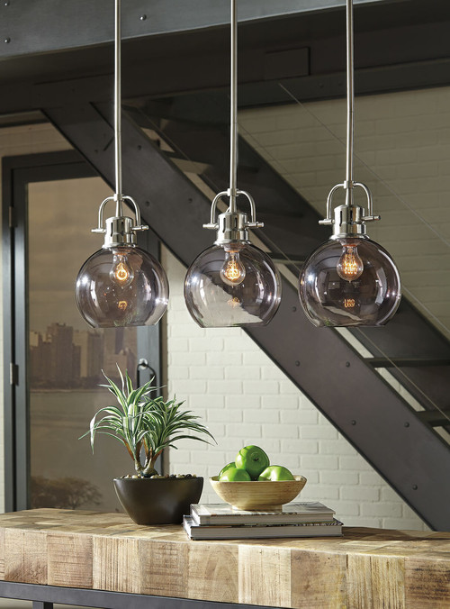 The Johano Gray Glass Pendant Light Sold At Spokane Furniture