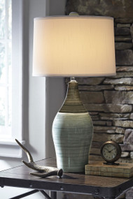Ashley Niobe Gray Ceramic Table Lamp
