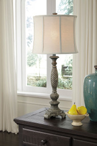 Ashley Alinae Antique Gray Poly Table Lamp