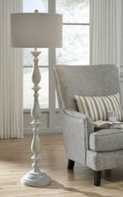 Ashley Bernadate Whitewash Poly Floor Lamp