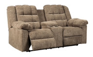 Ashley Workhorse Cocoa Double Reclining Loveseat with Console