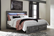 Ashley Baystorm Gray King Panel Bed with Footboard Storage
