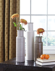 Ashley Deus Gray/White/Brown Vase Set (3/CN)
