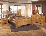 Ashley Bittersweet Light Brown 7 Pc. Dresser, Mirror, Queen Poster Bed & Nightstand