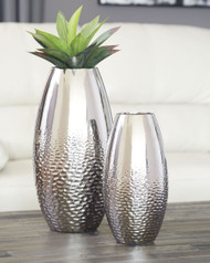 Ashley Dinesh Silver Finish Vase Set (2/CN)