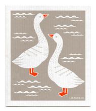 Swedish Dishcloth - Geese - Grey
