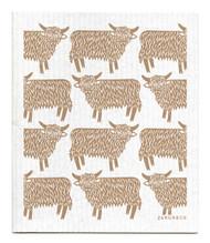 Swedish dishcloth Highland Cow - Sand
