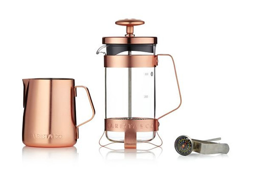 Set of 3 Cup Plunge Pot plus Milk Jug and Thermometer - Electric copper