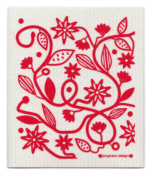 Eco-friendly doodle red dishcloth