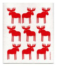 Swedish Dishcloth - Moose - Red