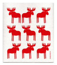 Swedish Dishcloth - Moose - Red
