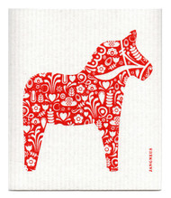 Swedish Dishcloth - Dala Horse - Red