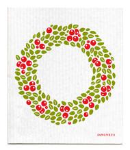 Swedish Dishcloth - Wreath - Red