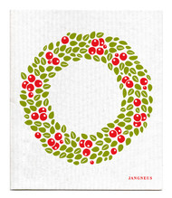 Swedish Dishcloth - Wreath - Red