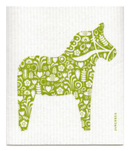Swedish Dishcloth - Dala Horse - Green