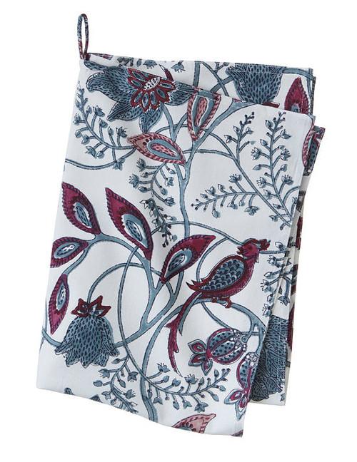 Block print kitchen towel - Phulphul - Dusty blue - Cotton