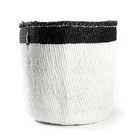 Kiondo Basket - White with Black Top Stripe