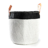 Kiondo Basket - White with Black Top Stripe & Handle