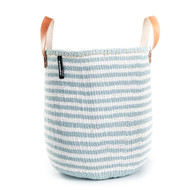 Kiondo Basket - Thin Stripes Light Blue & White with Handles
