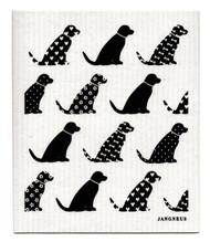 Jangneus Swedish dishcloth, Black Dogs, 100% biodegradable
