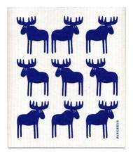 Swedish Dishcloth - Moose - Blue