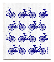 Swedish Dishcloth - Bikes- Blue