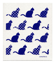 Swedish dishcloth 100% biodegradable 7 by 8 inches, Blue cats by Jangneus