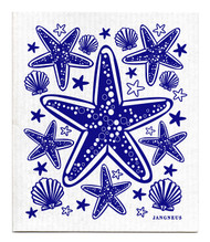 Swedish dishcloth 100% biodegradable 7 by 8 inches, Blue starfish by Jangneus