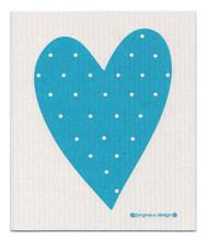Swedish Dishcloth - Heart - Turquoise