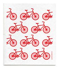 Swedish Dishcloth - Bikes - Red