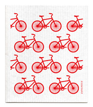 Swedish Dishcloth - Bikes - Red