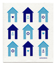 Swedish Dishcloth - Beach Huts - Turquoise
