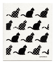 Swedish Dishcloth - Cats - Black