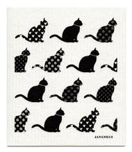 Swedish Dishcloth - Cats - Black