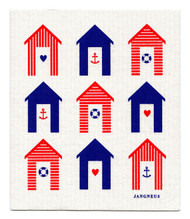 Swedish Dishcloth - Beach Huts - Red/Blue
