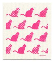 Swedish Dishcloth - Cats - Pink