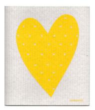 Swedish Dishcloth - Heart - Yellow