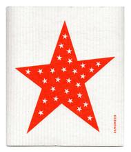 Swedish Dishcloth - Big Star - Orange
