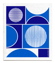 Swedish dishcloth 100% biodegradable 7 by 8 inches, Blue circles by Jangneus