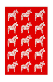 Swedish Kitchen Towels - Dala Horse - Red