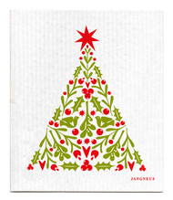 Swedish Dishcloth - Christmas Tree - Red