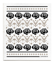 Swedish Dishcloth - Roses - Black