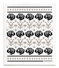 Swedish Dishcloth - Roses - Black