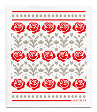 Swedish Dishcloth - Roses - Red