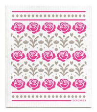 Swedish Dishcloth - Roses - Pink