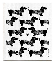 Jangneus Swedish dishcloth, Dachshund Black, 100% biodegradable