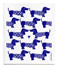 Jangneus Swedish dishcloth, Dachshund Blue, 100% biodegradable