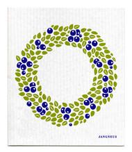 Swedish Dishcloth - Wreath - Blue
