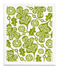 Jangneus Swedish dishcloth, Green Oak Leaf, 100% biodegradable